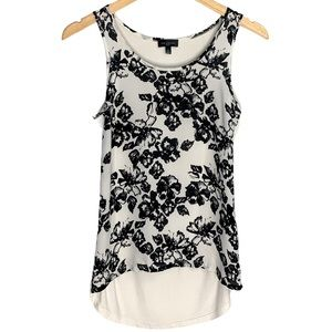Classy Floral Women's Black And White Blouse